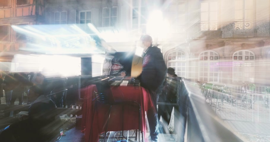 mc : STRASBOURG, FRNACE - CIRCA 2015: J Disk Jokey during street public free concert dj-ing with lots of passion Stock Footage