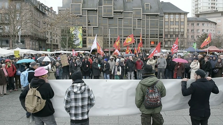 protestor : STRASBOURG, FRANCE - JAN 30, 2016: Protesters gathered at Kleber Square Place Kleber during a demonstration, protesting governments plan of the extension of the state of emergency for another three months - people holding placard