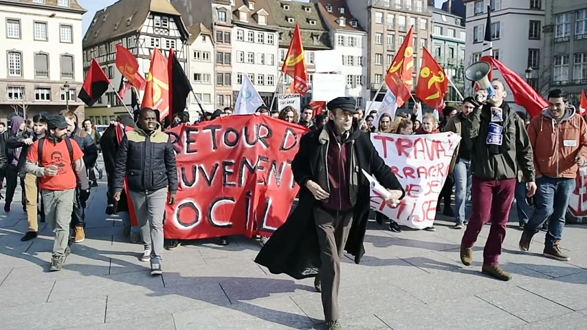 nationwide protest : STRASBOURG, FRANCE - 9 MAR 2016: Thousands of people demonstrate in Place Kleber as part of nationwide day of protest against proposed labor reforms by Socialist Government