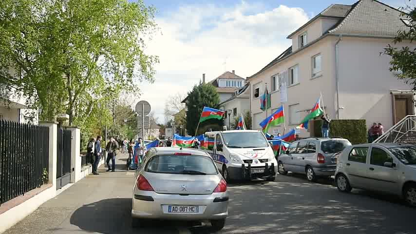 unrest : STRASBOURG, FRANCE - APR 8, 2016: Timelapse of protest outside Azerbaijan Embassy against the 2016 clashes in Nagorno-Karabakh, the region disputed by Armenia and Azerbaijan