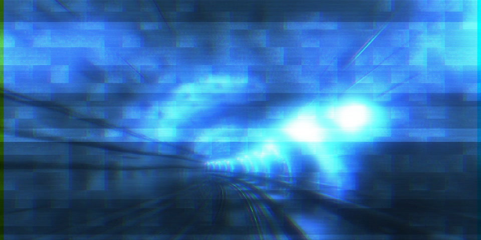 escaping : Digital tunnel teleportation time machine - concept of running away from, hiding, escaping with high speed