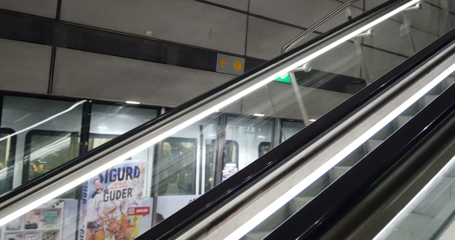 kodaň : COPENHAGEN, DENMARK - CIRCA 2016: People on escalator in central Copenhagen metro station Dostupné videozáznamy