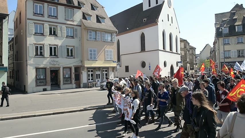 nationwide protest : STRASBOURG, FRANCE - APR 20, 2016: Closed central street as hundreds of people demonstrate as part of nationwide day of protest against proposed labor reforms by Socialist Government