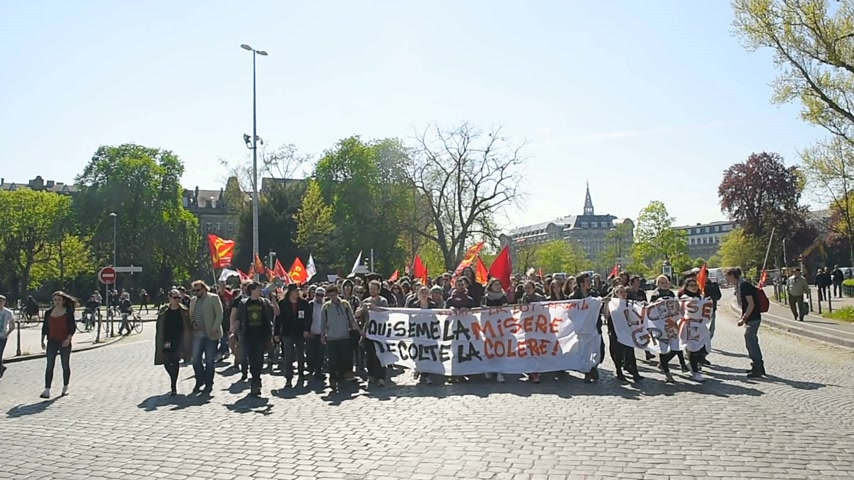 nationwide protest : STRASBOURG, FRANCE - APR 20, 2016: Hundreds of students demonstrate in front of University of Strasbourg as part of nationwide day of protest against proposed labor reforms by Socialist Government