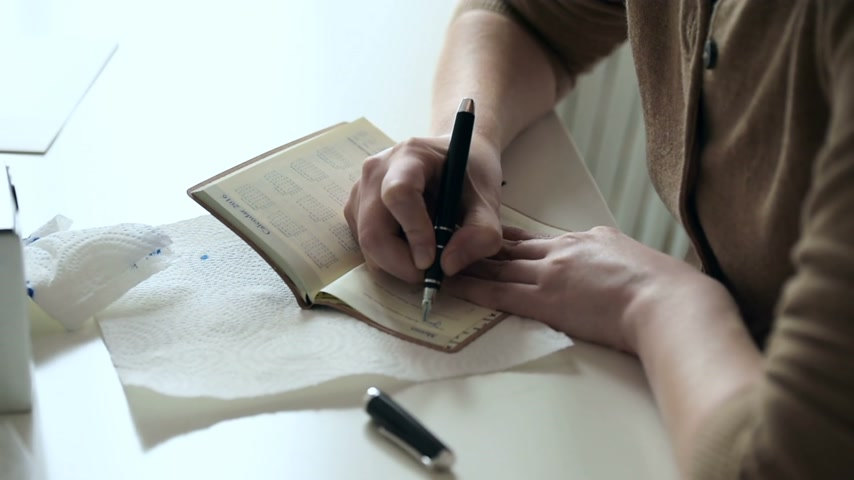 poeta : Woman writing in agenda new appointments and to-do with luxury fountain pen