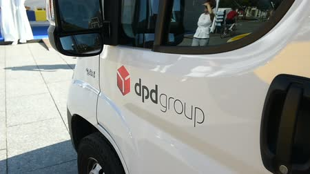 kurier : STRASBOURG, FRANCE - CIRCA 2016: DPD group delivery van in center of the city. DPD group is part of French group La poste