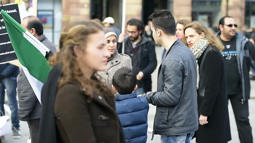 bashar al assad : STRASBOURG, FRANCE - MAR 19, 2016: Kid waving flag of Syria as Syrian diaspora protests in center of Strasbourg to denouncing the Syrian attacks and show solidarity Syrian people
