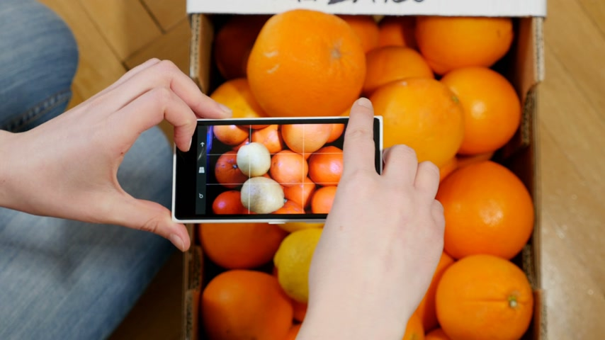 citrom és narancsfélék : PARIS, FRANCE CIRCA 2016: Woman taking on smartphone windows phone Lumia a photograph of box of French oranges Stock mozgókép