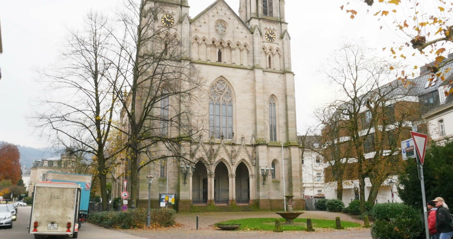 evangelical : Baden-Baden, Germany - CIRCA 2016: Majestic Evangelist Town Church of Baden Baden Germany Stock Footage