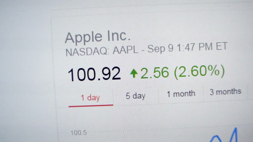 gaining : PARIS, FRANCE - CIRCA 2016: Apple Computers Apple Inc stock ticker changing in real time during the announcements of the new iPhone 7 and iPhone 7S Stock Footage