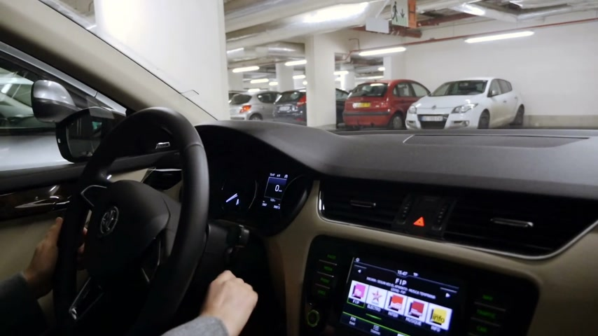 öz : STRASBOURG, FRANCE - CIRCA 2017: Point of view of passenger at driver hands - woman parking Skoda car using the parkgronic parctronic parking assistant audio signal and visual aid