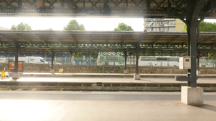 french metro : Paris, France - Circa 2016: Point of view pov of passenger arriving in Gare de Est train station in Paris, France - platform empty sign, railroads, nobody