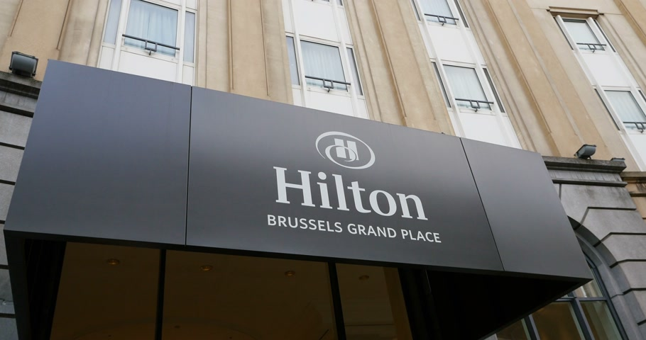 hilton : BRUSSELS, BELGIUM - CIRCA 2016: Hilton Brussels Grand Palace luxury five star hotel entrance -
