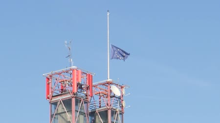 coe : European Union flag fly half-mast European Court of human Rights building memory of victims terrorist explosion Manchester Arena Stock Footage