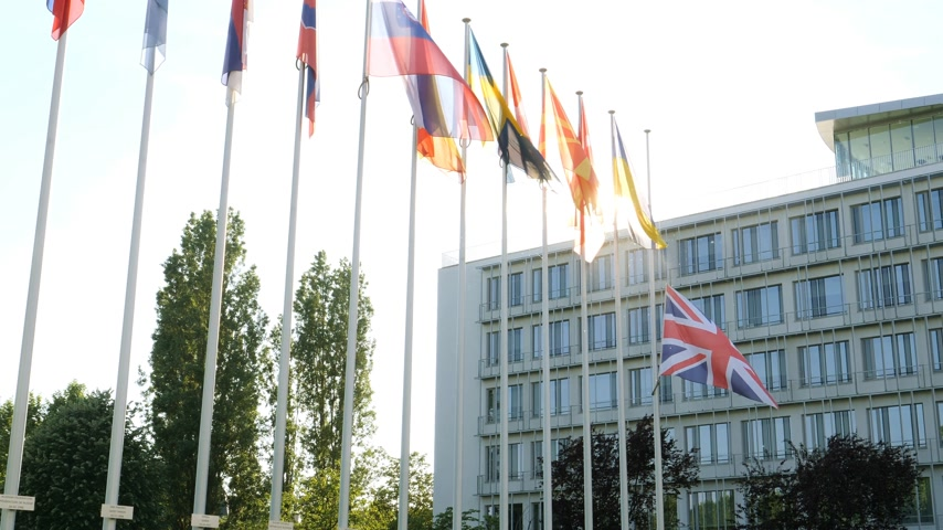 flag half mast : United Kingdom flags fly half-mast Council of Europe building memory of victims terrorist explosion Manchester Arena