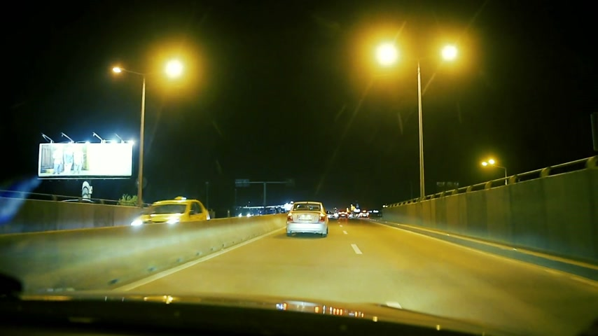 traffic bucharest : BUCHAREST, ROMANIA - CIRCA 2016:  Night driving in the new tunnel in Bucharest, Romania. Stock Footage