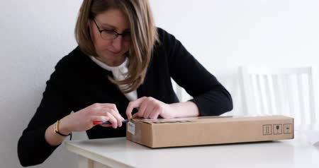 quadro : PARIS, FRANCE - CIRCA 2017: Woman unboxing parcel containing Dell computer hardware part for her workstation - computer part replacement Nvidia Quadro professional video card