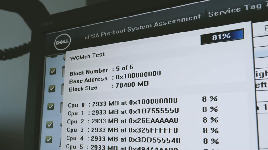 intel : LONDON, UNITED KINGDOM - CIRCA 2017: Dell ePSA Enhanced Pre-boot System Assessment computer alert verification after full Dell Precision T7910 workstation