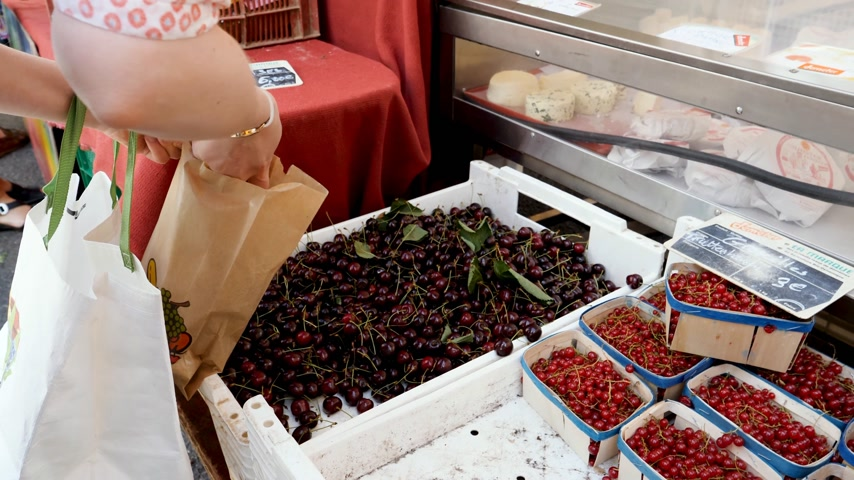 для продажи : Strasbourg, France - circa 2017: Point of view of adult woman buying fresh cherries and currant at the market from the organic market stall fruits and vegetables by Demeter brand