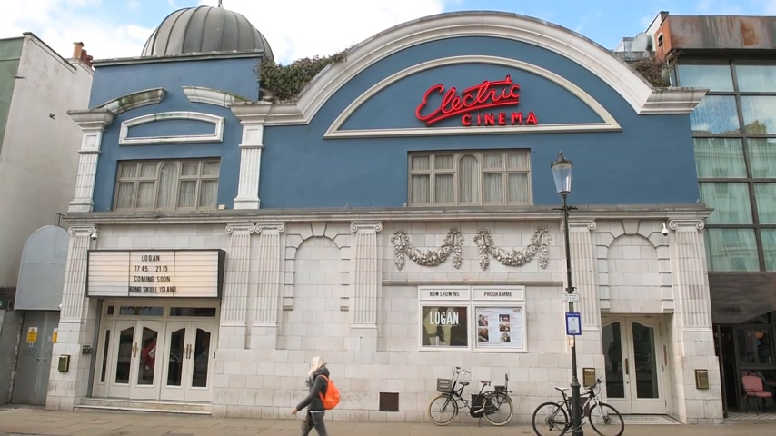 signboard : London, United Kingdom - Circa 2017: The Electric Cinema building on a summer day - a movie theatre in Notting Hill, London, and is one of the oldest working cinemas in the country
