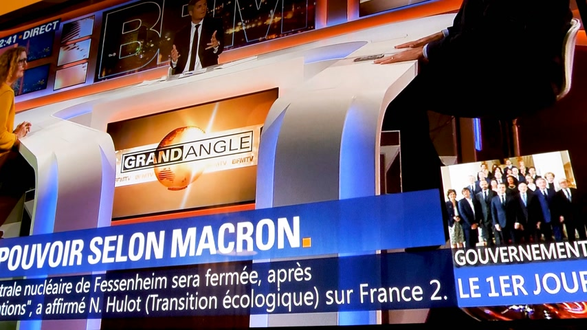 chancellor : Paris, France - Circa 2017: Television show with braking news of the first day of the French Government of Emmanuel macron president and Edouard Philippe