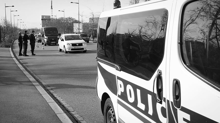 je suis charlie : STRASBOURG, FRANCE - NOV 14 2015 Slow motion French Police car  and officers checking vehicles on the border between Strasbourg and Kehl Germany, as a security measure in the wake of attacks in Paris