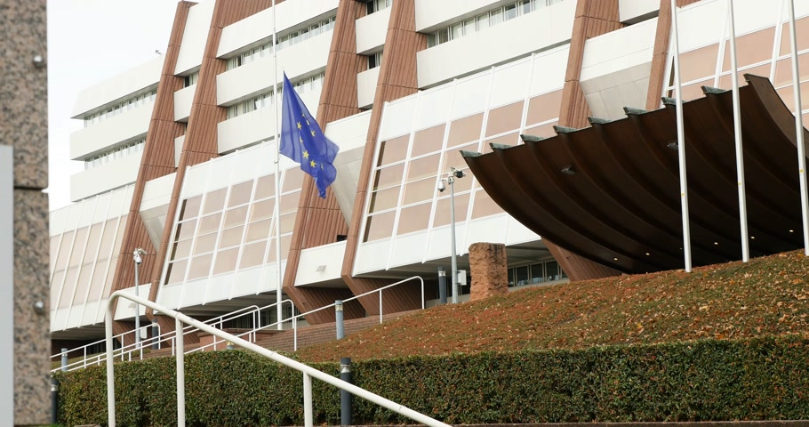 coe : European union Flag at half-mast at Council of Europe amin entrance  following terrorist attack in Paris at Bataclan
