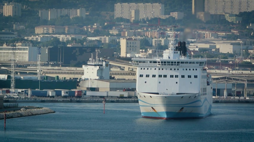 visto : Marseille, France - Circa 2017: Girolata, large ferry ship owned by La Meridionale exits Marseille exits Marseille-Fos Port Destination Corsica island. Large ferry transporting people, cars, trucks Stock Footage