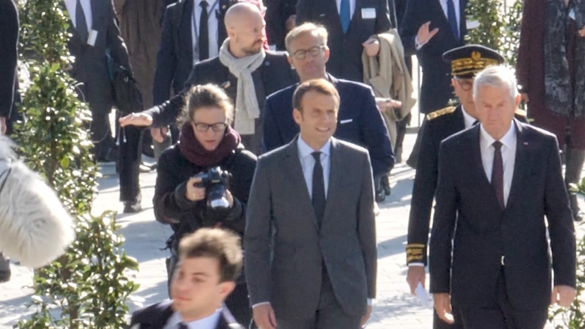 european court of human rights : STRASBOURG, FRANCE - OCT 31, 2017: Arrival of Emmanuel Macron French President and Thorbjorn Jagland Secretary General of the Council of Europe at the European Court of Human Rights in Strasbourg Stock Footage