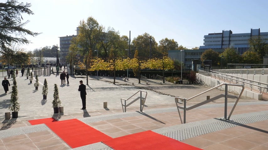 президент : STRASBOURG, FRANCE - OCT 31, 2017: Red carpet on the stairs of European Court of Human Rights in Strasbourg ready for official delegation and visits of Emmanuel macron French President