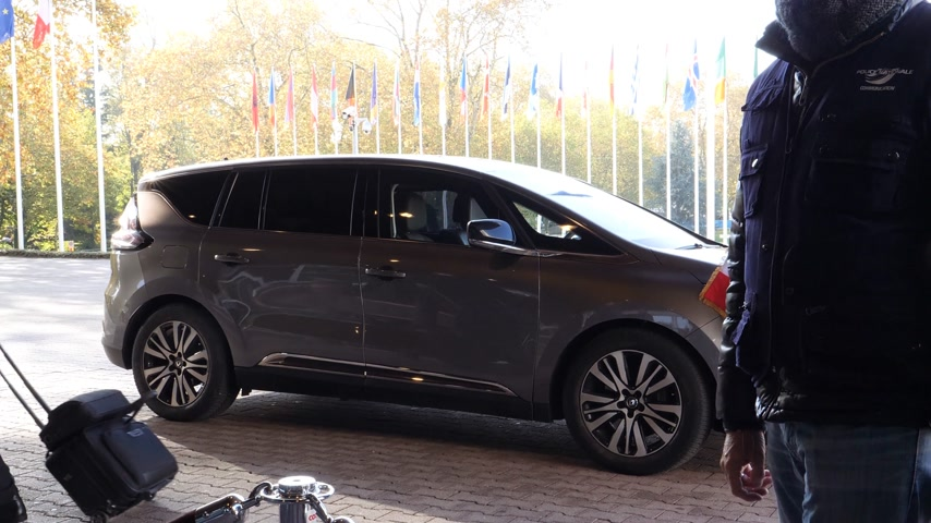 french president : STRASBOURG, FRANCE - OCT 31, 2017: Renault Espace Initiale van car, the official transportation of Emmanuel Macron French President parked in front of Council of Europe during official visit Stock Footage