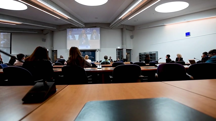 european court of human rights : STRASBOURG, FRANCE - OCT 31, 2017: Rear view of journalists in Press Room of the European Court of Human Rights listening Emmanuel Macron French President speech during official visit Stock Footage