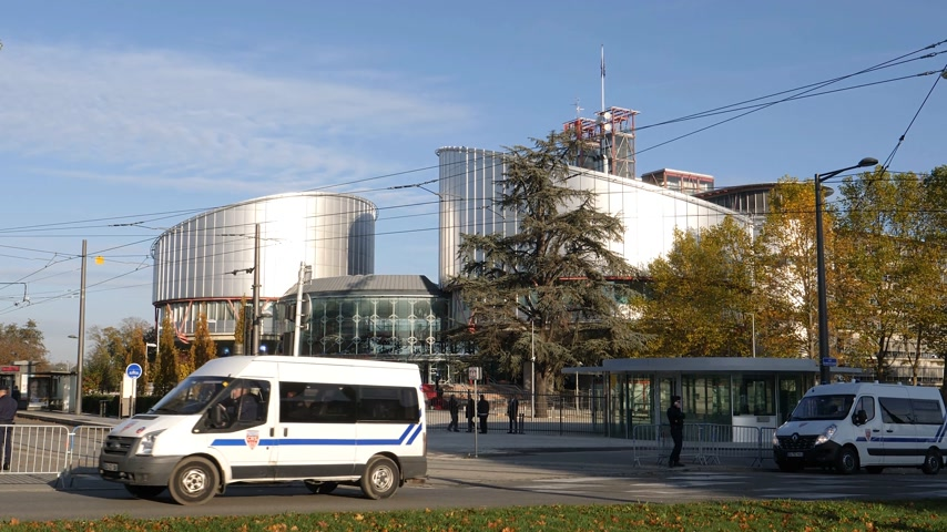 french president : STRASBOURG, FRANCE - OCT 31, 2017: Security measures at the European Court of Human Rights for the Emmanuel Macron French President official visit