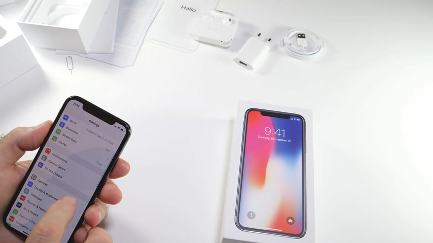 brilho intenso : PARIS, FRANCE - NOV 3, 2017:  Man POV unboxing of the latest Apple iPhone X 10 smartphone in white studio background home screen apps settings brightnes