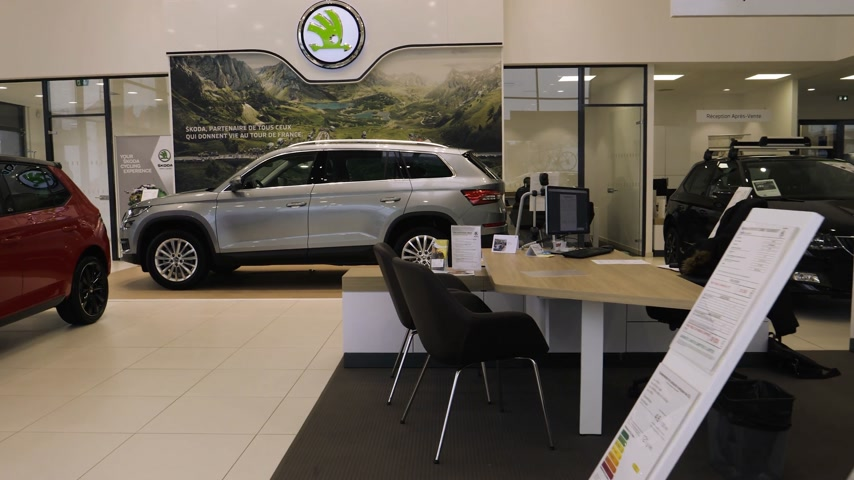 čeština : Paris, France - Circa 2017:Point of view customer entering the car dealership garage of Skoda Volkswagen brand walking near car entering lounge zone and wait Dostupné videozáznamy