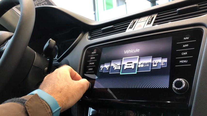 dab : PARIS, FRANCE - CIRCA 2017: Point of view of man using the new navigation dashboard touchscreen of a Skoda Volkswagen car - DAB radio, traffic news, gps maps, etc