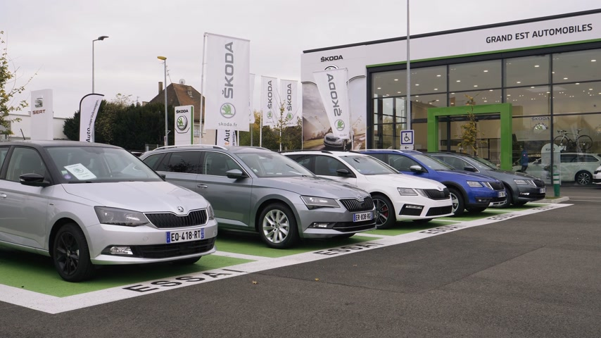 usado : STRASBOURG, FRANCE - CIRCA 2017: Rows of new and used cars of Skoda Brand by Volkswagen on sale at car dealership with diverse models from Superb to Octavia and Fabia with garage building Stock Footage