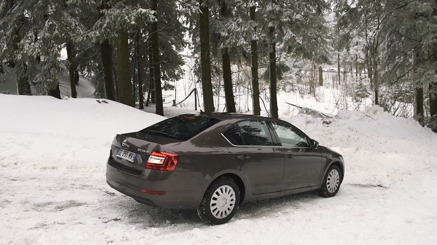 çıkmak : MUMMELSEE, GERMANY - FEB 18, 2018: Skoda Octavia estate luxury car preparing to exit snowy parking Stok Video