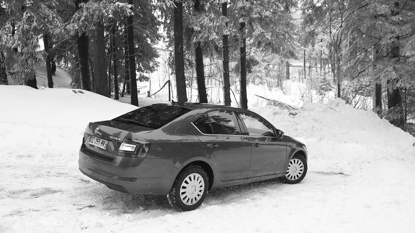 exiting : MUMMELSEE, GERMANY - FEB 18, 2018: Skoda Octavia estate luxury car exiting snowy parking without any difficulties - car equipped with winter tires - black and white