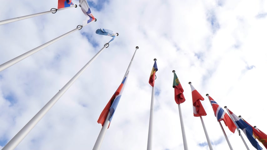 national day of mourning : STRASBOURG, FRANCE - MAR 28, 2018: View below flag of Russia flying half-mast at Council of Europe - tribute and mourning of victims of fire at Zimnyaya Vishnya shopping centre Kemerovo