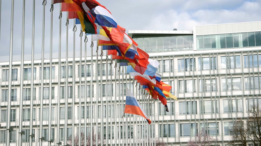 national day of mourning : Waving Flag of Russia half-mast at Council of Europe - tribute and mourning of victims of fire at Zimnyaya Vishnya shopping centre Kemerovo