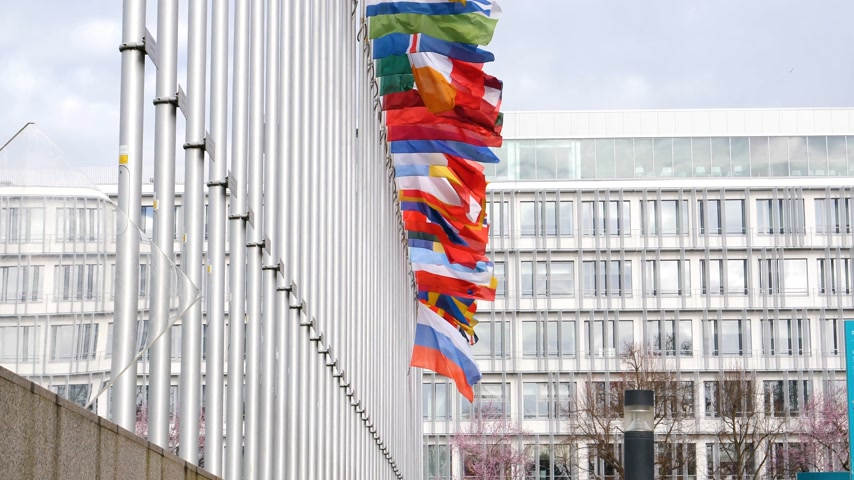 national day of mourning : STRASBOURG, FRANCE - MAR 28, 2018: Flag of Russia flying half-mast next to all European Flags at Council of Europe - tribute and mourning of victims of fire at Zimnyaya Vishnya shopping centre