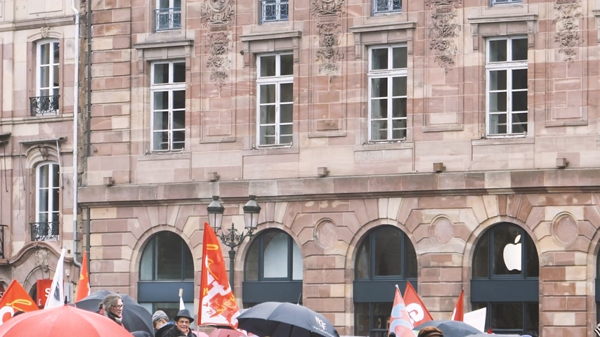 activist : STRASBOURG, FRANCE  - MAR 22, 2018: People with flags and placard at demonstration protest against Macron French government string of reforms, multiple trade unions have called public workers to strike- Stock Footage