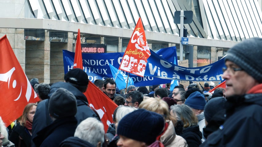 syndicate : STRASBOURG, FRANCE - MAR 22, 2018: General nationwide protest of workers at demonstration protest against Macron French government string of reforms - people from diverse syndicates Stock Footage
