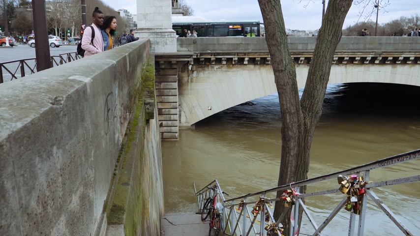 boathouse : PARIS, FRANCE - JAN 30, 2018: Black ethnicity Couple admiring the flooding embankments on the Seine river in Paris after heavy rain Stock Footage