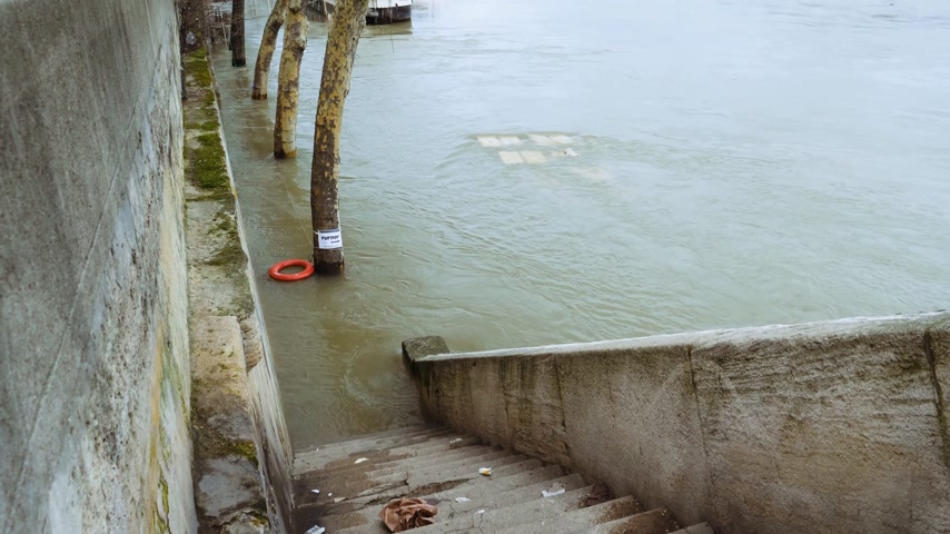 torrential rain : PARIS, FRANCE - JAN 30, 2018: Tilt-up from flooded stairs to houseboat barge peniche on the overflow flooding embankments on the Seine river in Paris after heavy rains with Eiffel Tower in the background - news footage