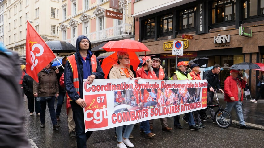 nationwide protest : STRASBOURG, FRANCE - SEP 12, 2018: Syndicate workers with placard at French Nationwide day of protest against labor reform proposed by Emmanuel Macron Government