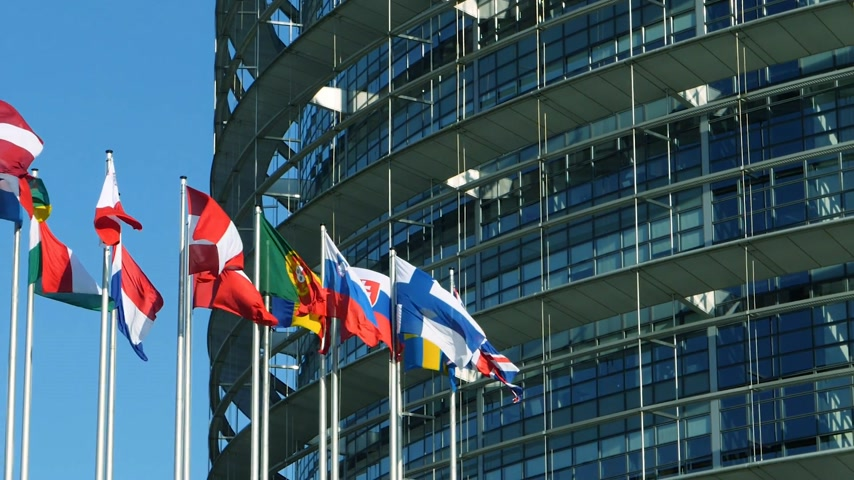 bürokrasi : All European Union members flags waving in front of European Parliament building in Strasbourg, France early in the morning - slow motion cinematic and clear blue sky