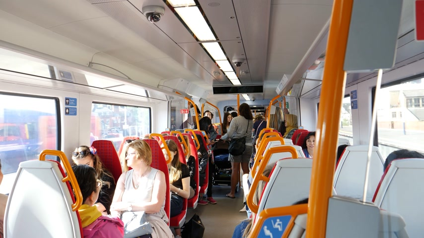 vezető : WINDSOR, BERKSHIRE, UNITED KINGDOM - MAY 19, 2018: British train interior with destination Windsor Eaton Riverside for royal wedding marriage of Prince Harry and Meghan Markle conductor announcements