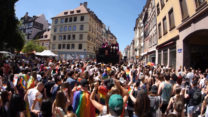 minority group : Cartoon effect over French street thousands people jumping dancing gay supporters with rainbow flag slow motion Lesbian Gay Bisexual Transgender LGBT GLBT visibility march pride FestiGays Stock Footage